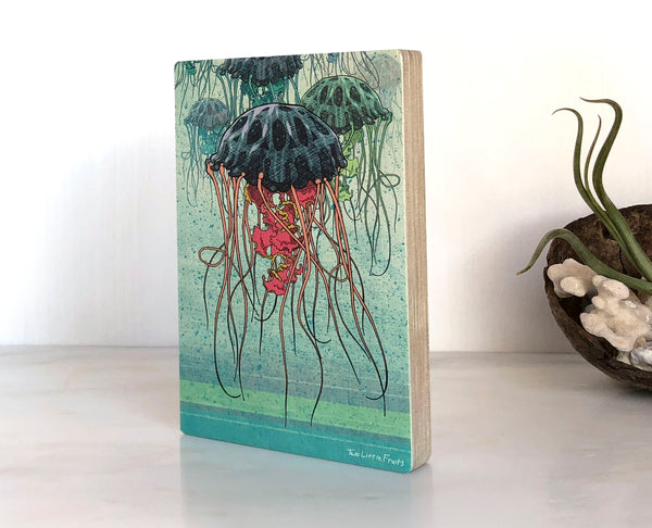 Jellyfish Small Wood Shelf Art, Art On Wood - Two Little Fruits