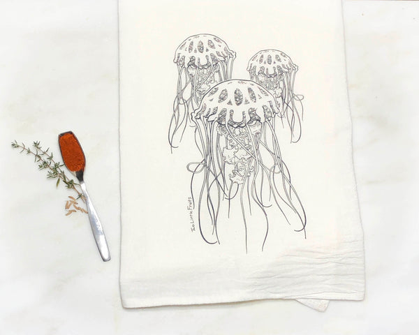 Black Jellyfish Tea Towel, Tea Towels - Two Little Fruits