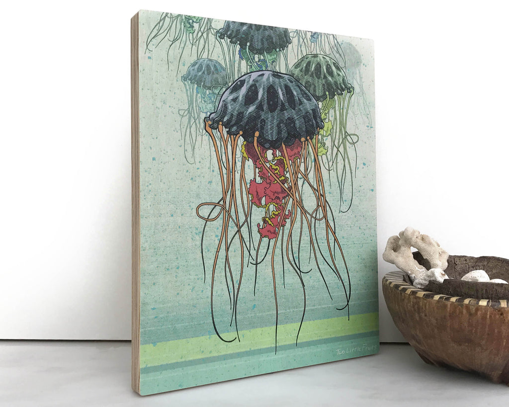 Jellyfish 8x10 Wall Art on Wood, Art On Wood - Two Little Fruits