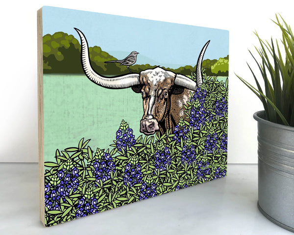 Longhorn Texas Steer 8x10 Wall Art on Wood, Art On Wood - Two Little Fruits