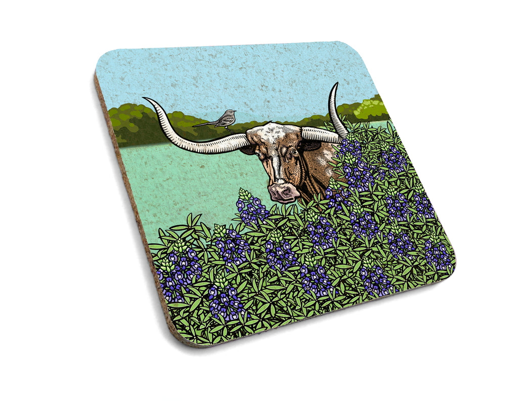 Texas Longhorn and Bluebonnet Cork Coaster, Coasters - Two Little Fruits