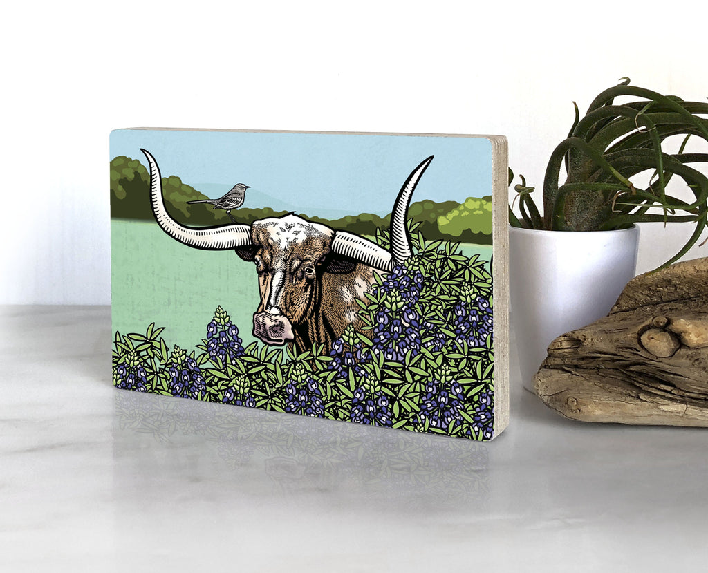 Texas Longhorn Steer and Bluebonnett Small Wood Shelf Art, Art On Wood - Two Little Fruits