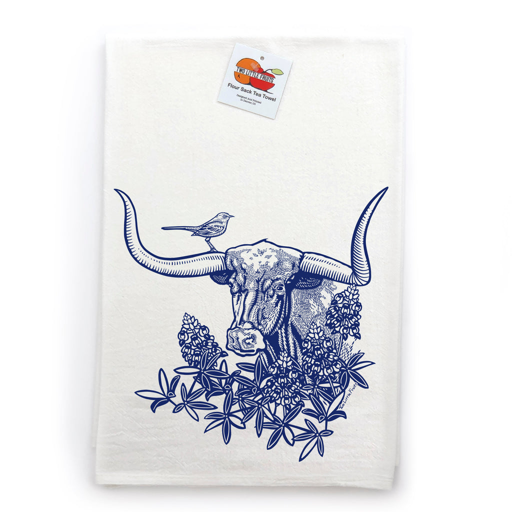 Longhorn Texas Steer Cotton Tea Towel, Tea Towels - Two Little Fruits