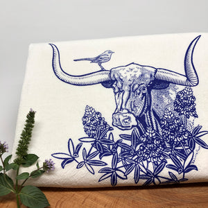 Longhorn Steer Cotton Tea Towel-Tea Towels-Two Little Fruits
