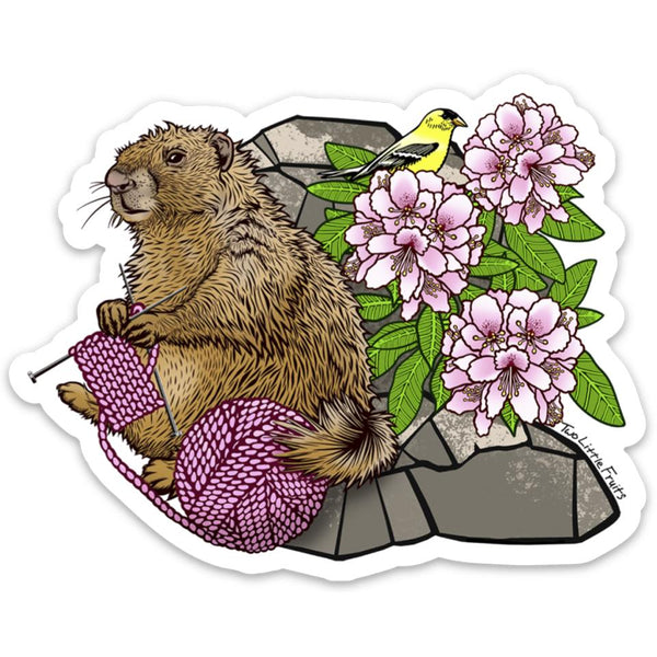 Knitting Marmot Large Die Cut Sticker, Sticker - Two Little Fruits