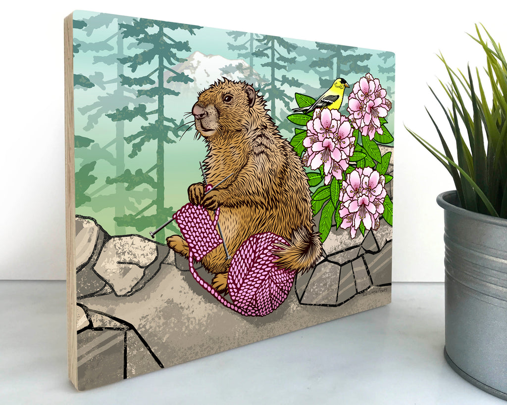 Knitting Marmot Wood Art Block, Art On Wood - Two Little Fruits