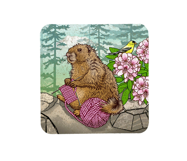 Knitting Marmot Cork Coaster, Coasters - Two Little Fruits
