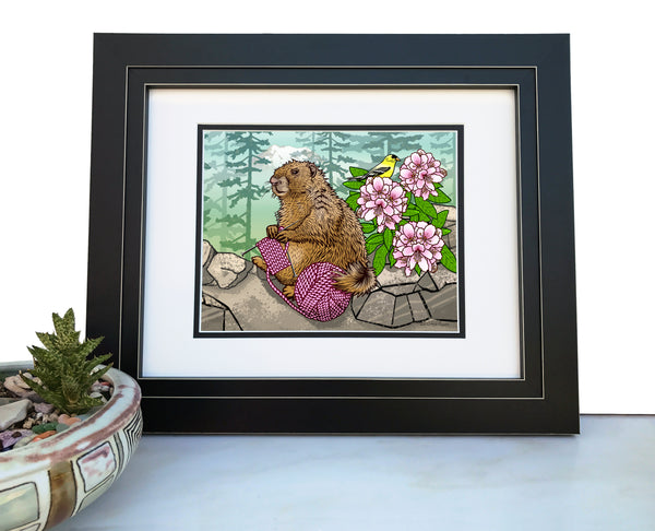 Knitting Marmot Art Print, Paper Prints - Two Little Fruits