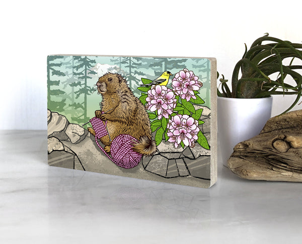 Knitting Marmot Washington Small Wood Shelf Art, Art On Wood - Two Little Fruits