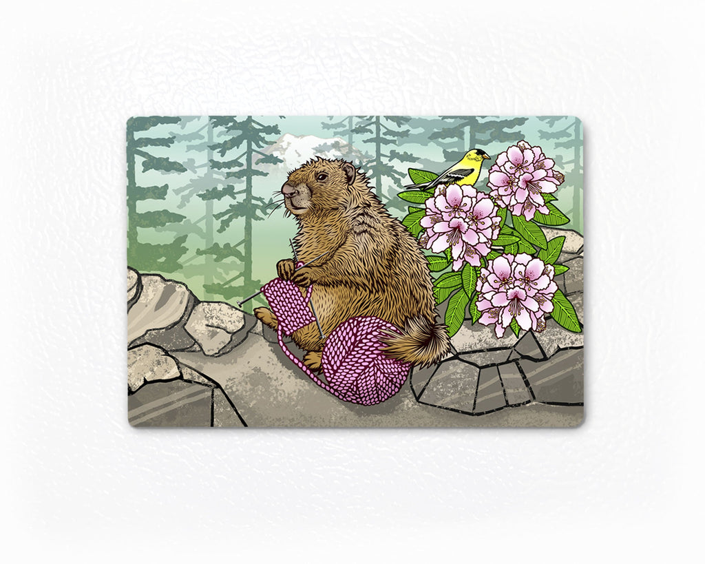 Knitting Washington Marmot Fridge Magnet