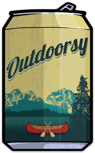 Outdoorsy Vintage Beer Can Sticker, Sticker - Two Little Fruits