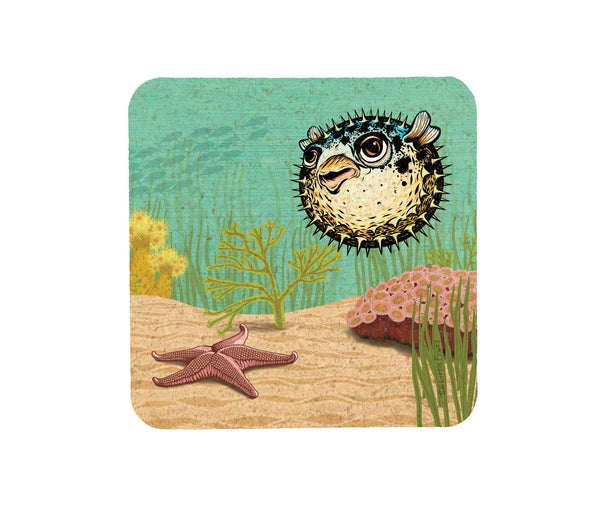 Puffy The Blowfish Cork Coaster, Coasters - Two Little Fruits