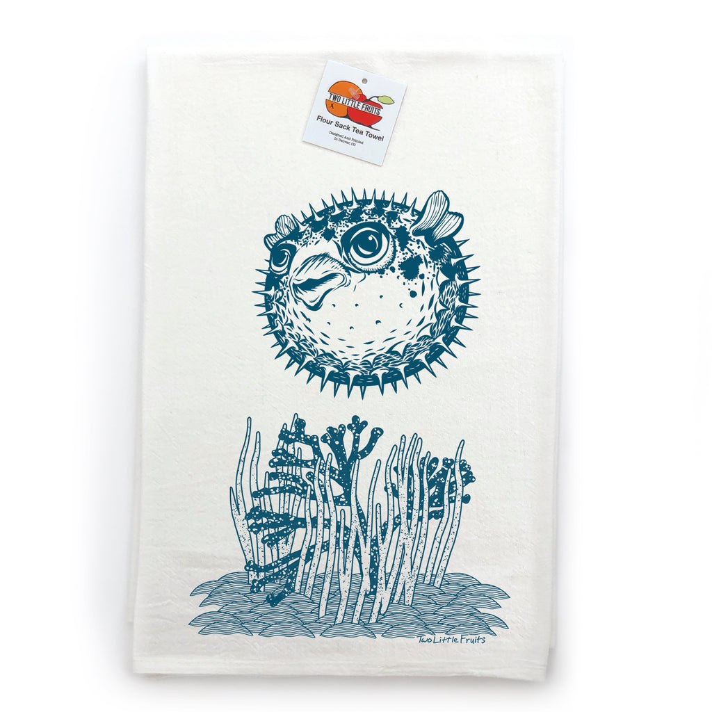 Aqua Pufferfish / Blowfish Ocean Cotton Tea Towel, Tea Towels - Two Little Fruits