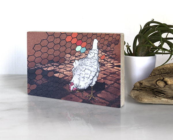 Farmhouse Chicken Small Wood Shelf Art, Art On Wood - Two Little Fruits