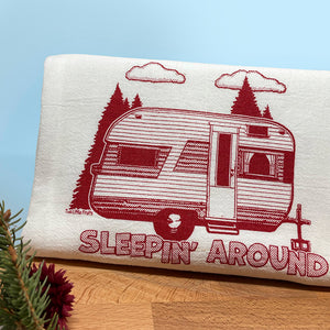 Sleepin' Around Camp Trailer Cotton Tea Towel-Tea Towels-Two Little Fruits