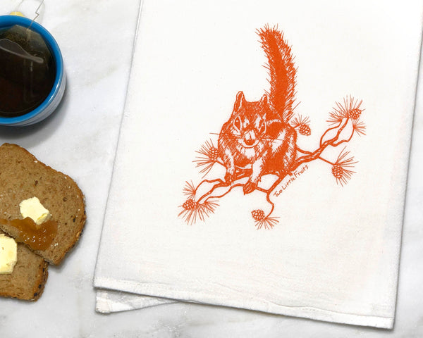 Orange Squirrel Tea Towel, Tea Towels - Two Little Fruits