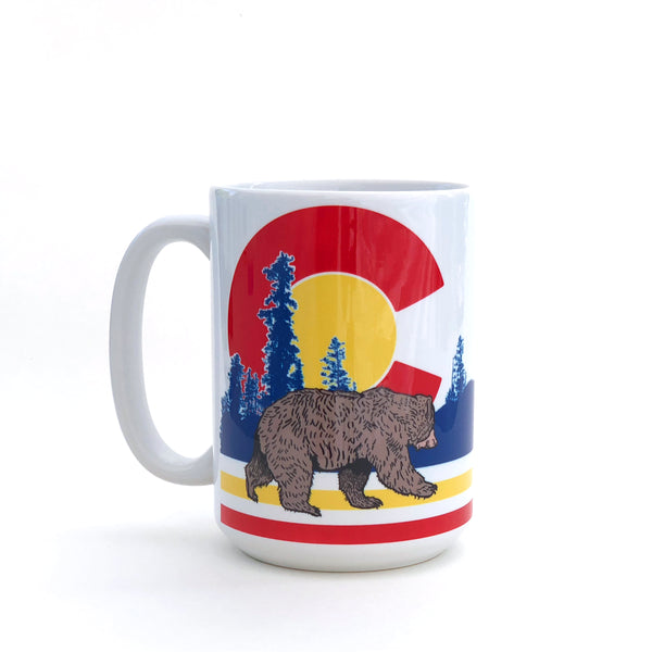 Colorado Flag Bear 15 Oz. Coffee Mug, Mug - Two Little Fruits