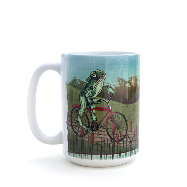 Frog On Vintage Bicycle Large 15 Oz. Coffee Mug, Mug - Two Little Fruits