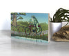 Frog Riding a Bike Small Wood Shelf Art, Art On Wood - Two Little Fruits