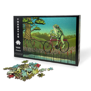 Frog On A Bike 1000 Piece Jigsaw Puzzle-Puzzles-Two Little Fruits