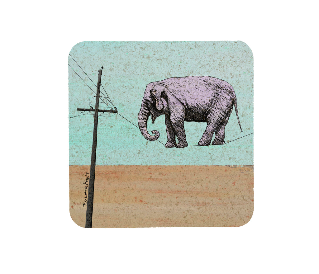 Elephant On A High Wire Cork Coaster, Coasters - Two Little Fruits