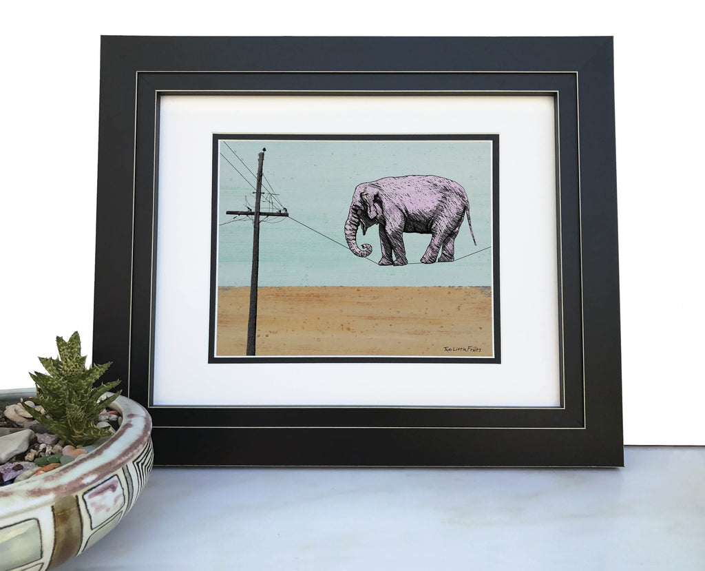 Tightrope Walker Elephant Art Print, Paper Prints - Two Little Fruits