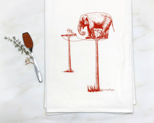 Red Elephant Tea Towel, Tea Towels - Two Little Fruits