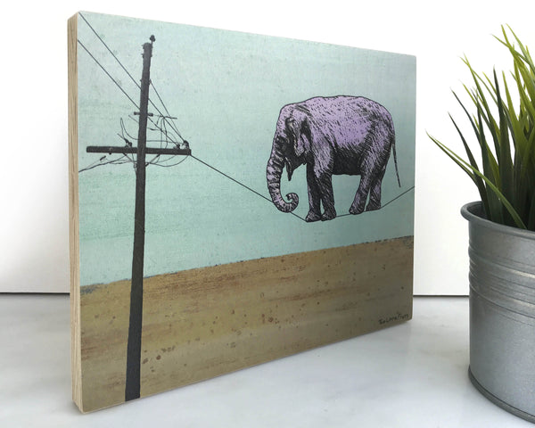 Elephant 8x10 Wall Art on Wood, Art On Wood - Two Little Fruits