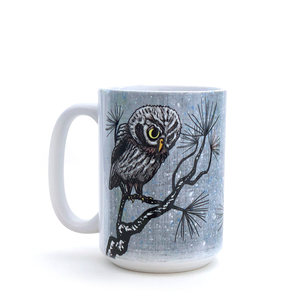 Winter Watch Owl 15 Oz. Coffee Mug, Mug - Two Little Fruits