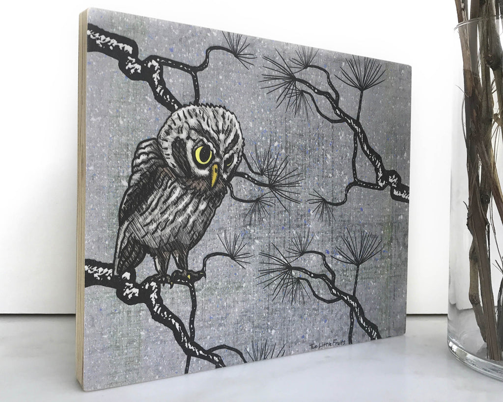 Gray Forest Owl 8x10 Wall Art on Wood, Art On Wood - Two Little Fruits
