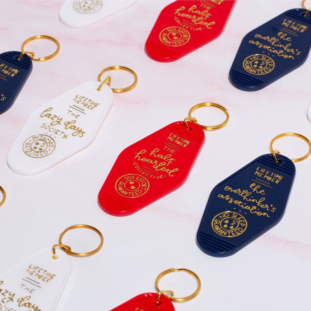 Load image into Gallery viewer, Keyring - The Overthinker's Association - Navy Blue - Oh, Laura
