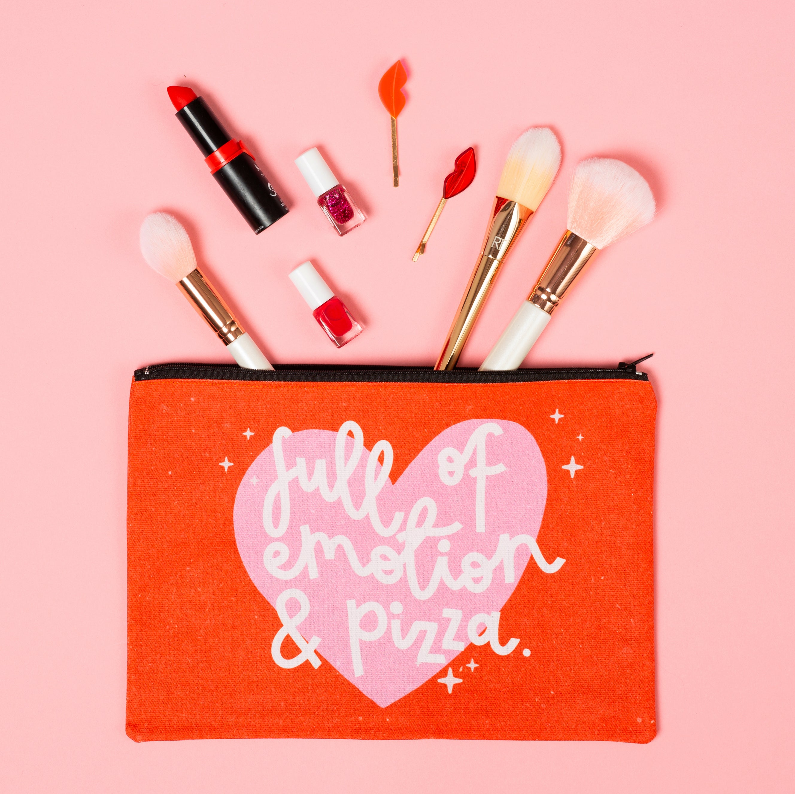 Makeup Bag - Full of Emotion & Pizza - Oh, Laura