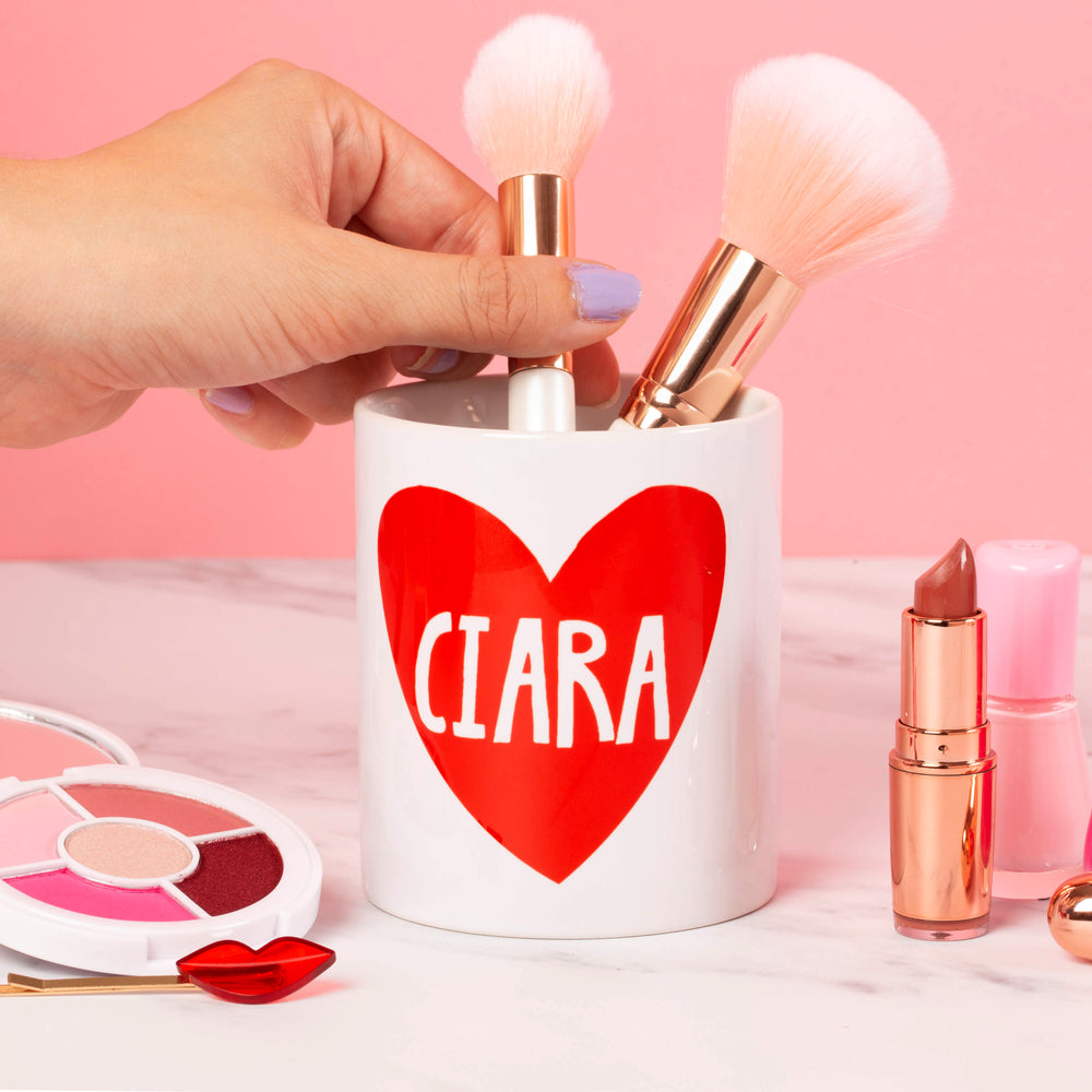 Personalised Heart Makeup Ceramic Pot - Oh, Laura