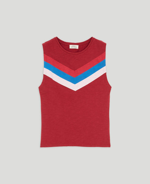 Chevron style sleeveless t-shirt              Me Too                            Garnet