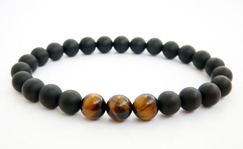"""Allen"" bracelet - Onyx and Tiger Eye"