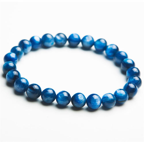 Kyanite gemstone bracelet; blue bracelet; blue men beaded bracelet