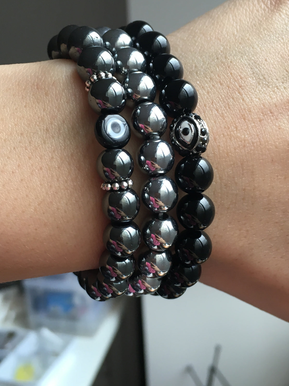 black evil eye bracelet set
