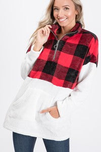 Buffalo Plaid Contrast Pullover