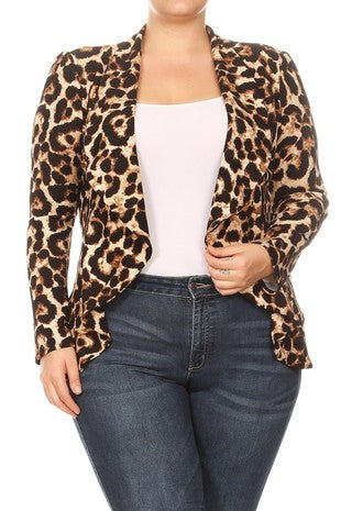 Leopard Waist Length Jacket PLUS