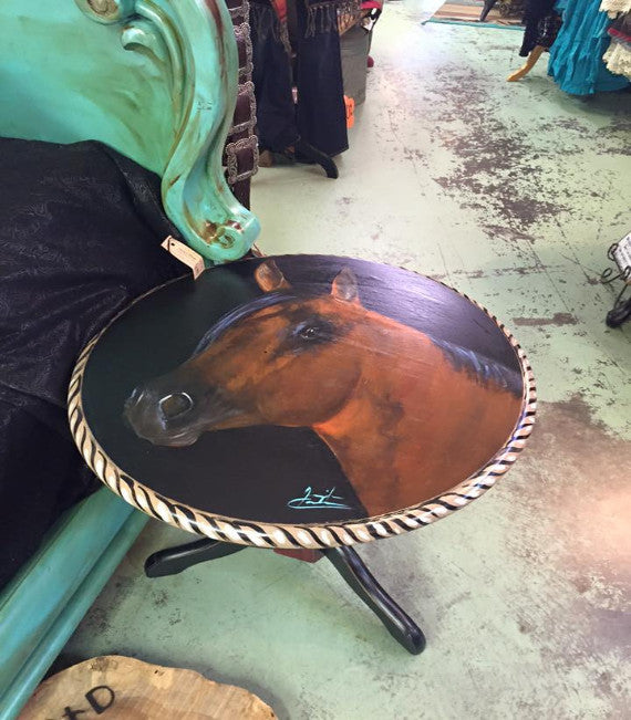 Hand Painted Horse Head End Table