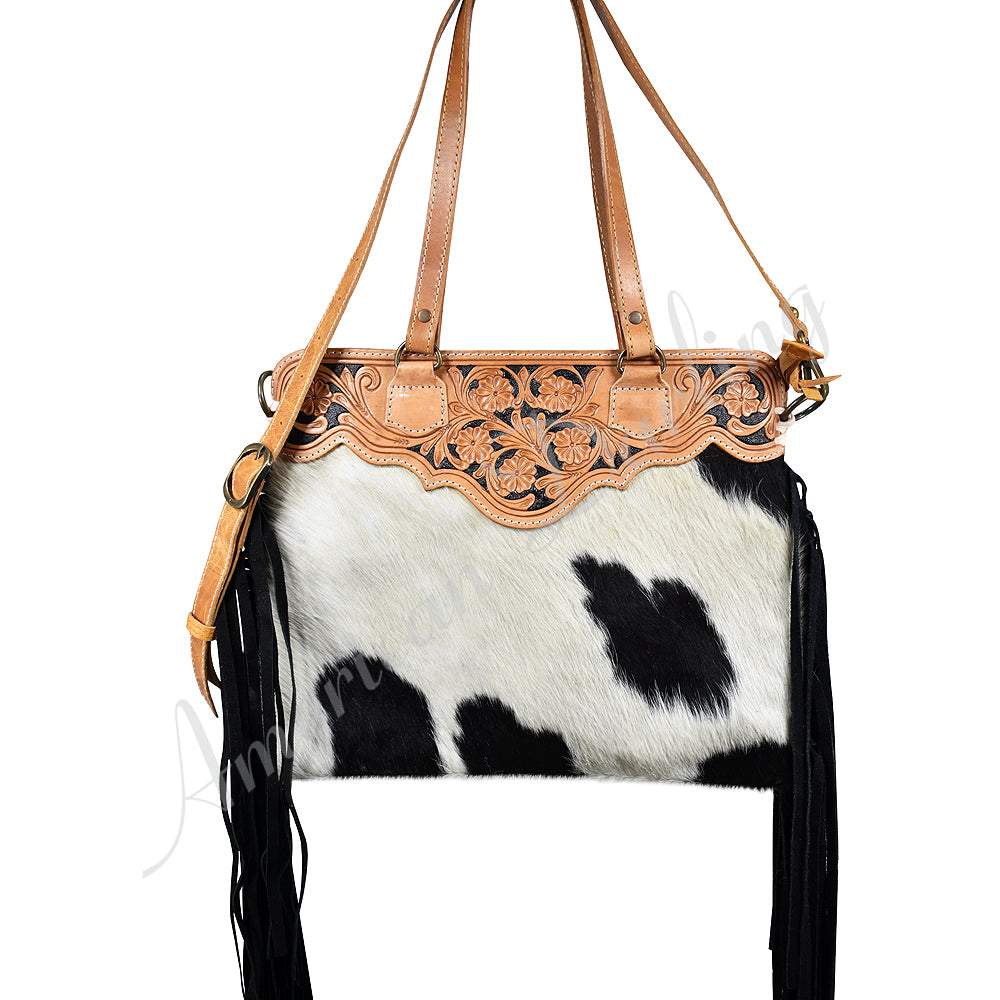 AMERICAN DARLING BLACK AND WHITE COWHIDE TOTE