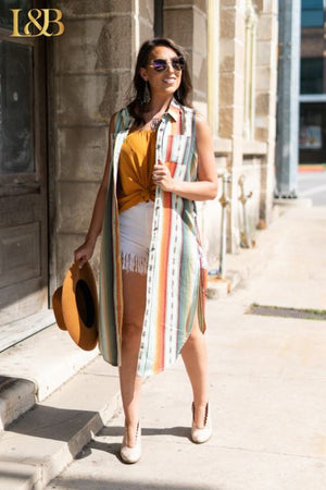 SERAPE LONG SLEEVELESS LACE UP TUNIC