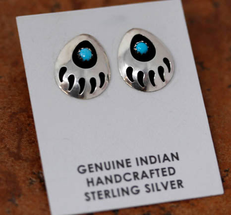 Navajo Turquoise Bear Paw Earrings
