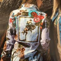 Women's  Button Up Shirt w/Lady Bronc Rider Patch and Embroidery