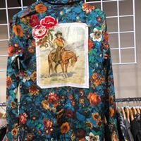 Women's  Button Up Shirt w/Cowgirl Patch and Embroidery