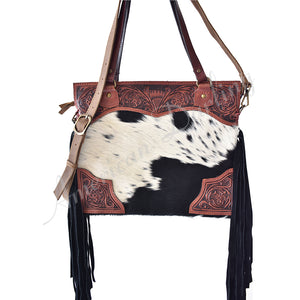 AMERICAN DARLING COWHIDE TOOLED LEATHER TOTE