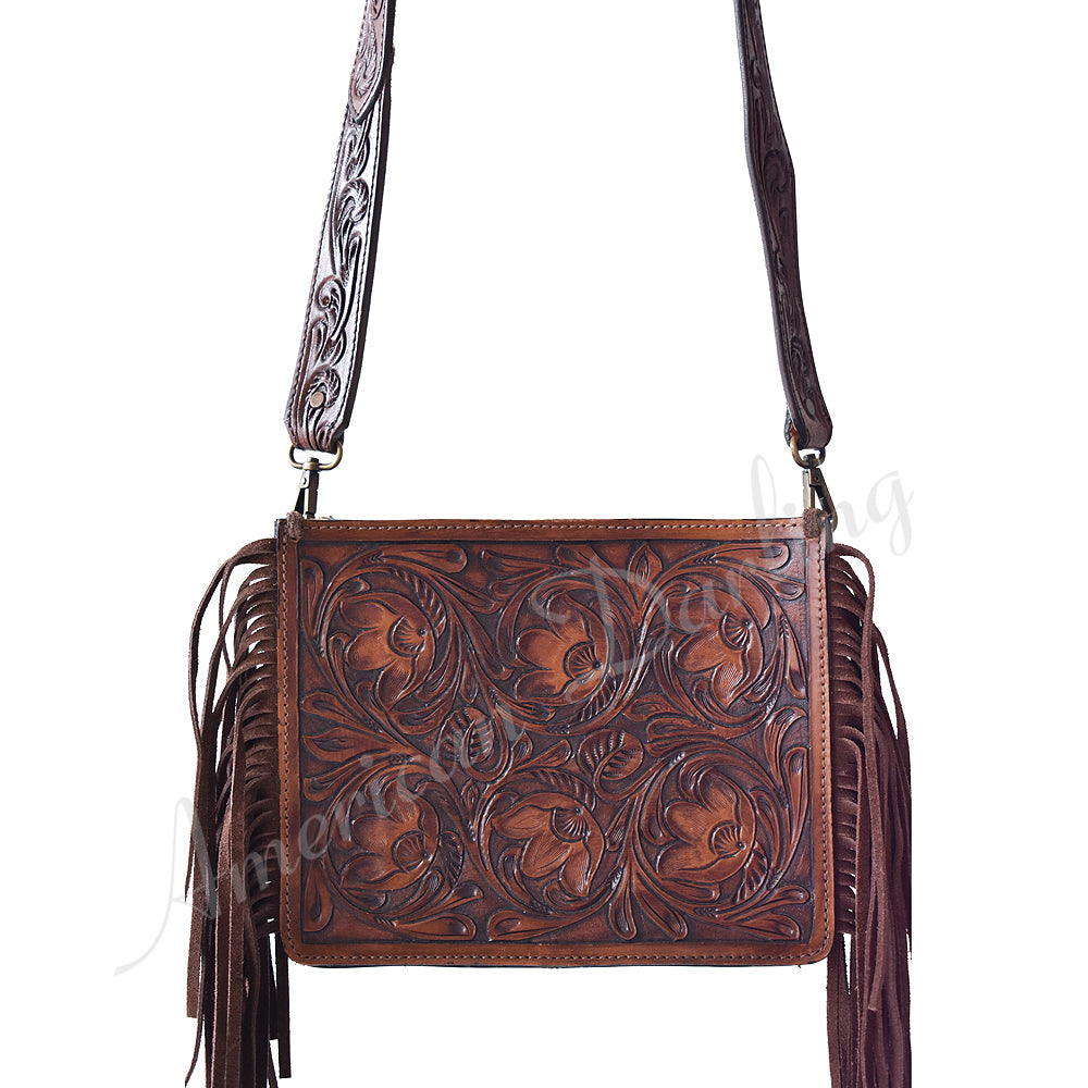 AMERICAN DARLING TOOLED FLORAL & FRINGE CROSSBODY BAG