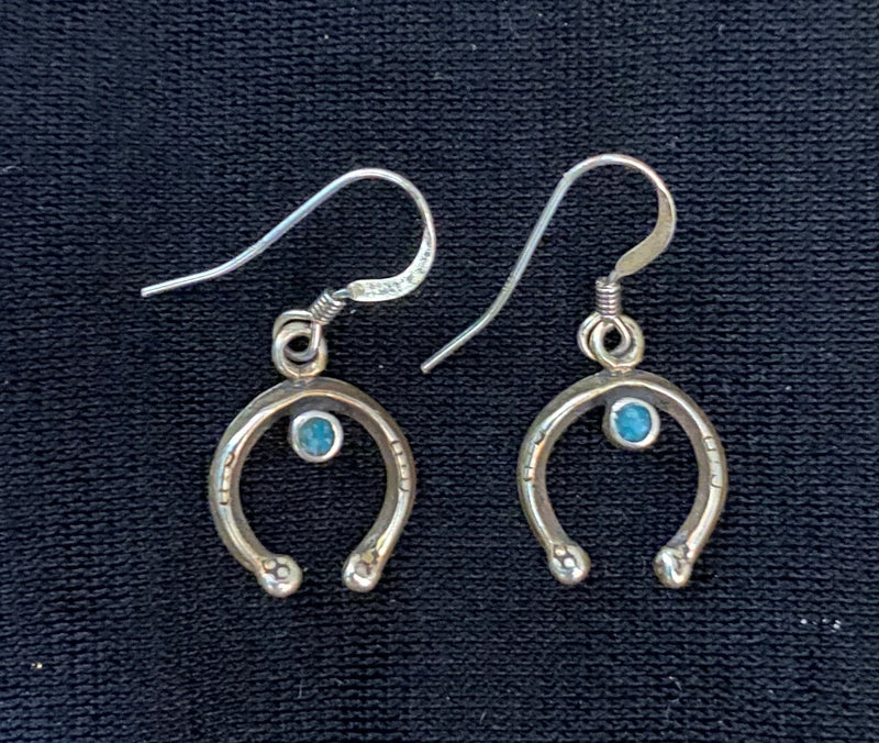 Native American Navajo Naja Turquoise Sterling Silver Squash Blossom Post Earrings