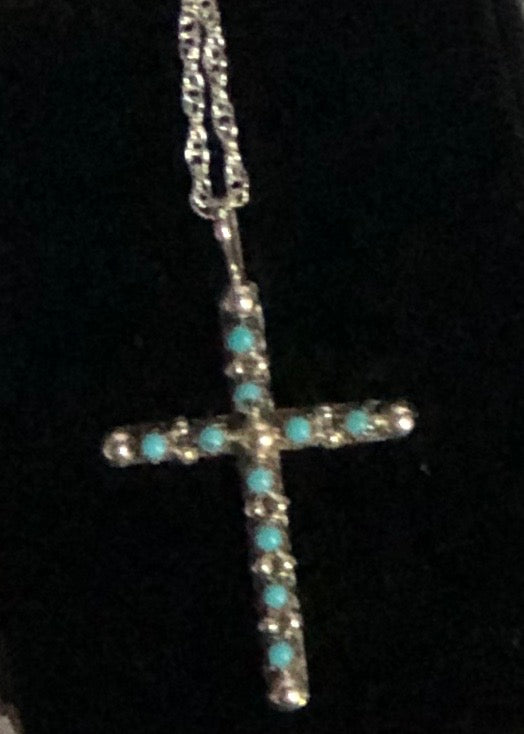 Sterling & Turquoise Cross Necklace