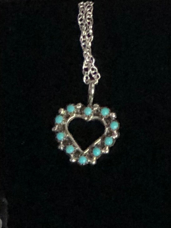 Sterling & Turquoise Heart Necklace